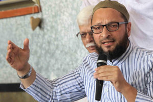 Majlis-e-Ittehadul Muslimeen president Asaduddin Owaisi addresses a press conference in Hyderabad on Nov.6, 2013. (Photo: IANS)
