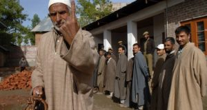 A voter coming out after casting his vote from a polling booth of Budgam, Srinagar in Jammu & Kashmir during the 4th Phase of General Election-2009 on May 07, 2009.