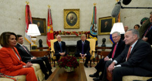U.S. President Donald Trump and Vice President Mike Pence meet with House Democratic leader Nancy Pelosi, Speaker of the House Paul Ryan, Senate Majority Leader Mitch McConnell and Senate Minority Leader Chuck Schumer in the Oval Office of the White House in Washington, U.S., December 7, 2017.  REUTERS/Kevin Lamarque - RC11A1647700